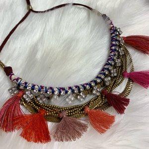 Boho tassel necklace adjustable neck strap